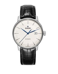 Rado Couple Classic Round Leather Strap Automatic Watch Black