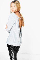 Boohoo Slash Neck Open Back Sweat Grey