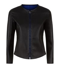 Armani Collezioni Woven Placket Leather Jacket Female Black