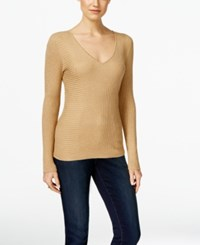 Inc International Concepts Ribbed V Neck Sweater Only At Macy's Gold