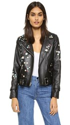 Sandy Liang Floral Delancey Leather Jacket Black Leather
