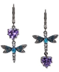 Betsey Johnson Hematite Tone Purple And Blue Stone Dragonfly Mismatch Earrings Purple Blue