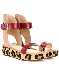 Francesco Russo Leather Suede And Calf Hair Sandals Red