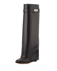 Givenchy Shark Lock Fold Over Knee Boot Black