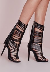 Missguided Ultra Strappy Gladiator Heeled Sandals Black Black