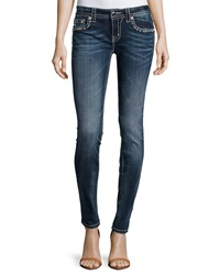 Miss Me Faded Signature Rise Skinny Jeans Medium Dark Wash