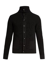 Christophe Lemaire Roll Neck Ribbed Knit Wool Cardigan Black