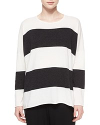 Wide Striped Cashmere Sweater White W Charcoal Eskandar