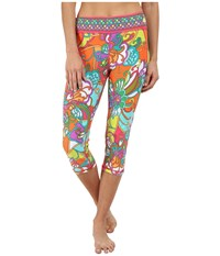 Trina Turk Jungle Flower Mid Length Leggings Multi Women's Workout