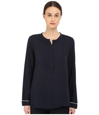 Emporio Armani Fancy Javanese Long Sleeve Button Shirt Marine Women's Long Sleeve Button Up Blue