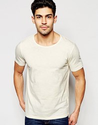 Selected Homme T Shirt With Raw Edge Neck White