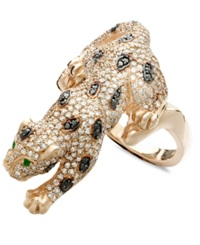 Effy Collection Effy Signature Diamond Black And White Diamond 1 1 2 Ct. T.W. And Emerald Accent Panther In 14K Rose Gold