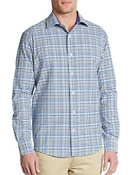 Saks Fifth Avenue Black Slim Fit Multicolored Check Cotton Sportshirt