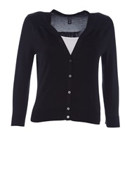 Lands' End Supima Cotton Grosgrain Trim Cardigan Black