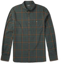 Todd Snyder Button Down Coar Checked Cotton Shirt Emerad Emerald