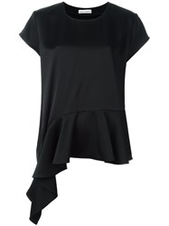 Paco Rabanne Draped Ruffle Top Black