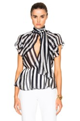 Zuhair Murad Striped Chiffon Blouse In Black White Stripes