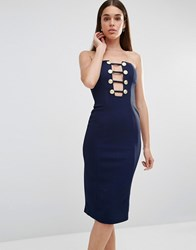 Rare Military Button Plunge Midi Dress Navy