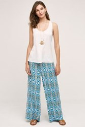 Anthropologie Mosaic Wide Legs Blue Motif