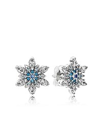 Pandora Design Pandora Earrings Sterling Silver Cubic Zirconia And Crystal Blue Snowflake