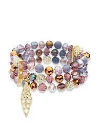Lonna And Lilly Faceted Glass Stone Three Row Stretch Bracelet Burgundy