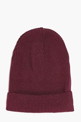 Boohoo Weight Ribbed Slouch Beanie Burgundy
