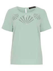 Sugarhill Boutique Giny Shell Cut Out T Shirt Dusky Green
