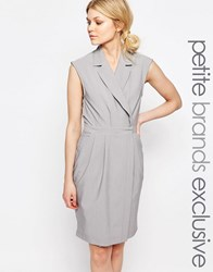 Alter Petite Wrap Front Sleeveless Dress With Lapels Light Gray