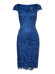 Adrianna Papell All Over Lace Shift Dress With Sweetheart Neck Blue