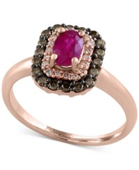 Effy Collection Red Velvet By Effy Ruby 5 8 Ct. T.W. And Diamond 1 3 Ct. T.W. Ring In 14K Rose Gold