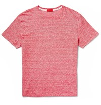 Isaia Space Dyed Knitted Linen And Cotton Blend T Shirt Red