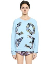 Mary Katrantzou Love Lace On Cotton Sweatshirt