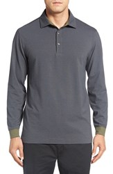Bobby Jones Men's 'Liquid Cotton Skyline' Stripe Long Sleeve Polo Safari