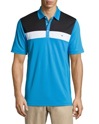 Callaway Colorblock Striped Polo Shirt Blue Aster