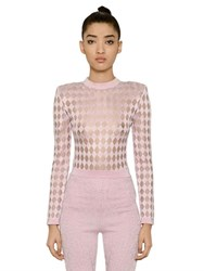 Balmain Sheer Diamond Jacquard Knit Sweater