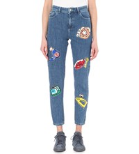 Au Jour Le Jour Sequin Embellished Slim Fit Tapered High Rise Jeans Light Denim And Patches