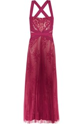 Mikael Aghal Lace Paneled Pleated Tulle Gown Purple