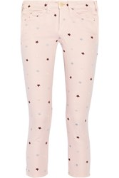 Etoile Isabel Marant Deacon Embroidered Mid Rise Skinny Jeans Blush