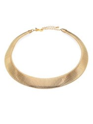 Kenneth Jay Lane Graduated Snake Ribbed Collar Necklace Gold