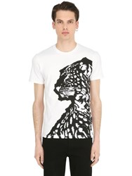 Just Cavalli Printed And Flocked Cotton Jersey T Shirt