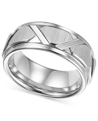 Triton Men's White Tungsten Ring Bright Cuts Wedding Band