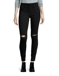 William Rast Distressed Skinny Jeans Black