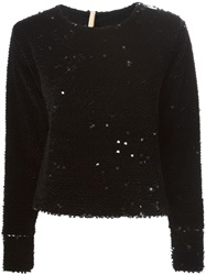 Maria Lucia Hohan Long Sleeve Sequin Top Black