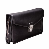 Maxwell Scott Bags The Santino Mens Leather Clutch Bag With Wrist Strap Black