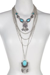 Sparkling Sage Detailed Layer Bib And Feather Pendant Necklace Set Blue