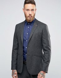 Ted Baker Slim Wool Blazer Charcoal Grey