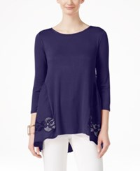 Joseph A Lace Peplum Three Quarter Sleeve Top Evening Blue