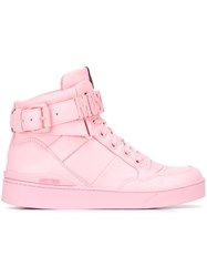 Moschino Logo Plaque Hi Top Sneakers Pink And Purple