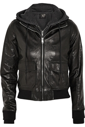 R 13 Hooded Washed Leather And Jersey Biker Jacket