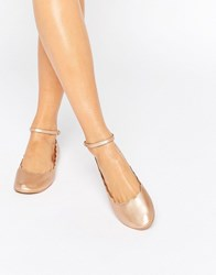 London Rebel Rose Gold Scallop Edge Ankle Strap Ballerina Rose Gold Copper